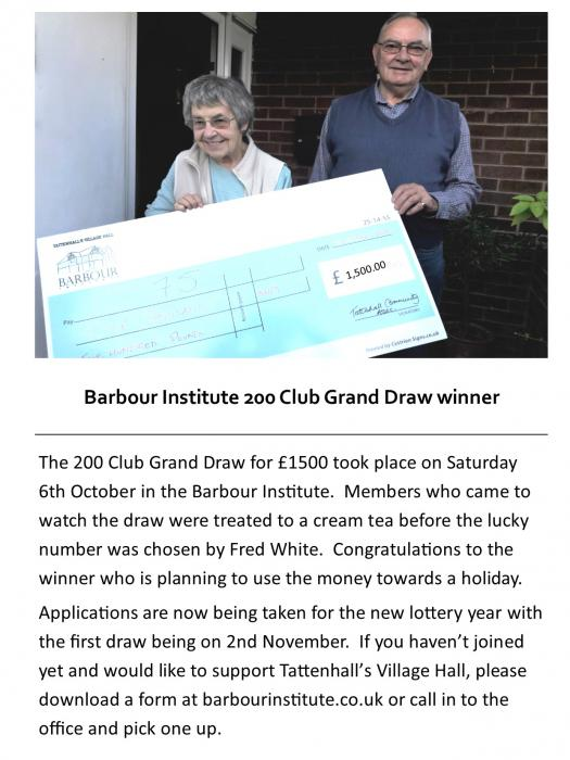 200 Club Grand Draw Winner 2018