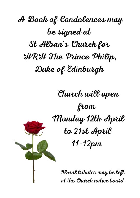 A Book Of Condolences May Be Signed At St Alban 39 s Church For Hrh The Prince Philip