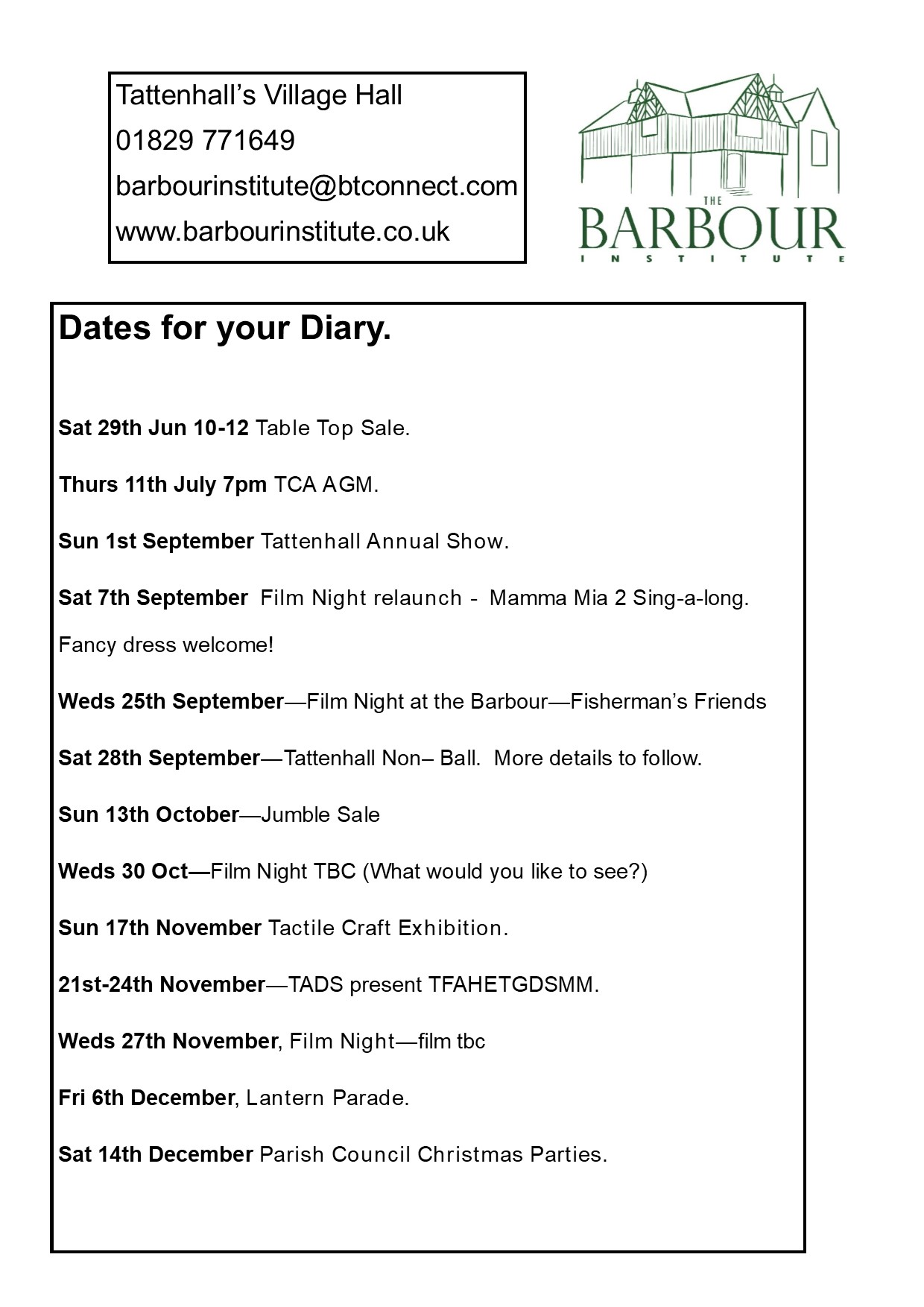 Dates For The Calendar What 39 s On At The Barbour Institute