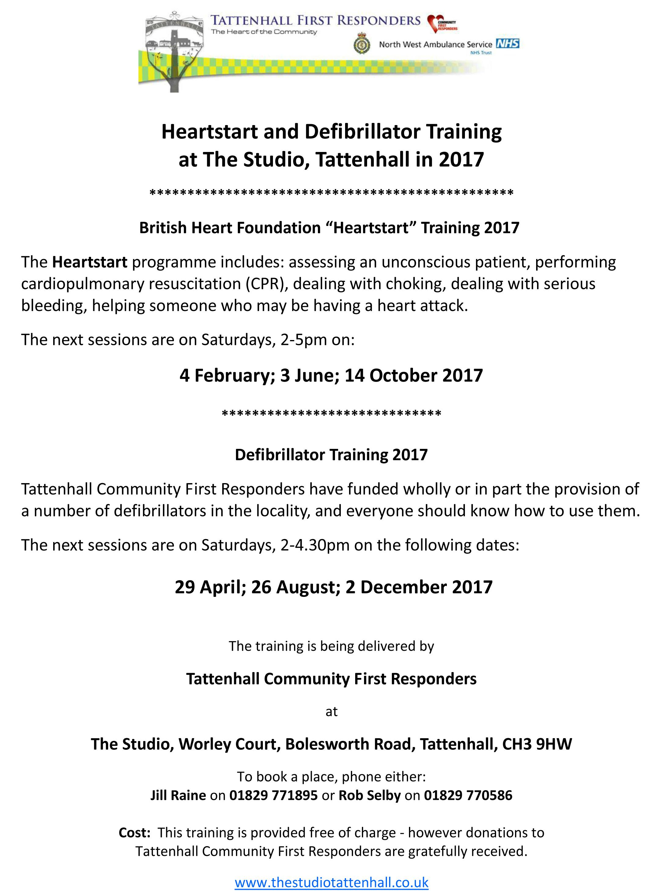 Heartstart And Defib Training 2017 Poster  1 December 2016