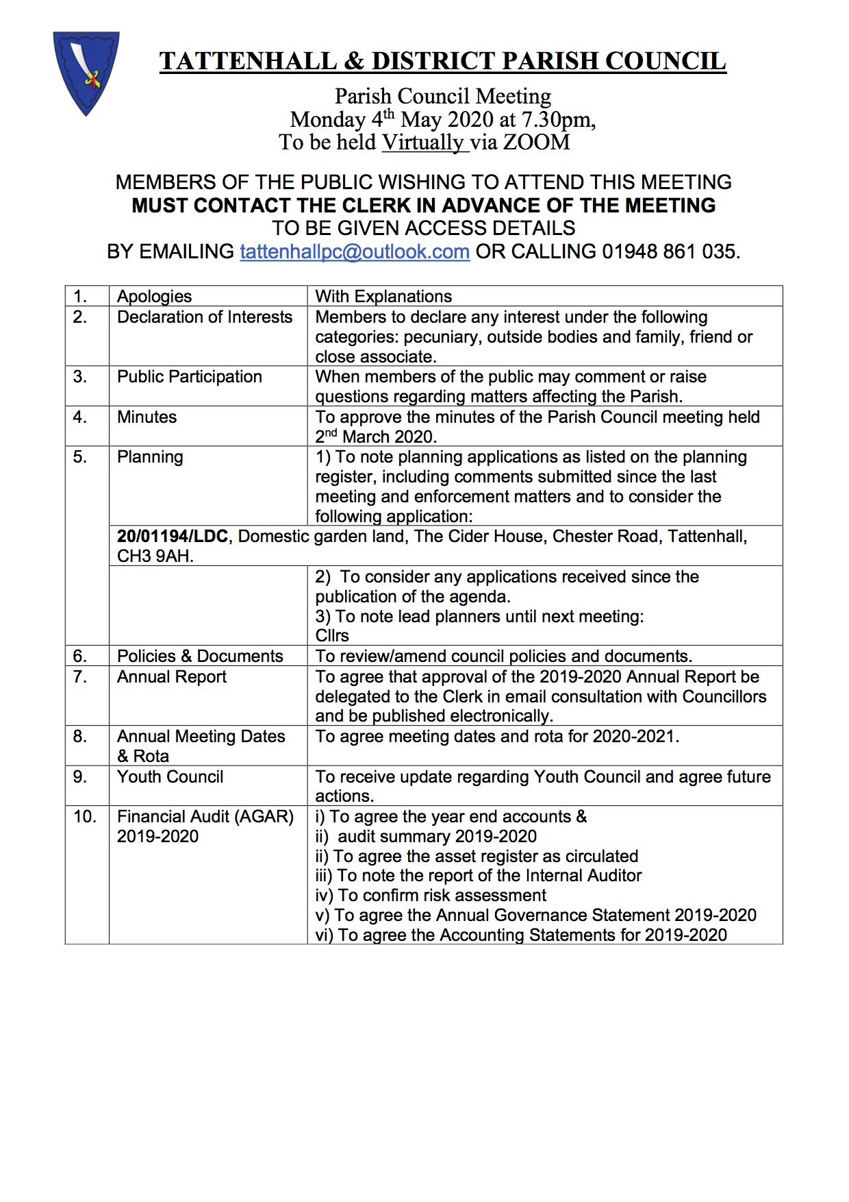 Tattenhall May Agenda 2020